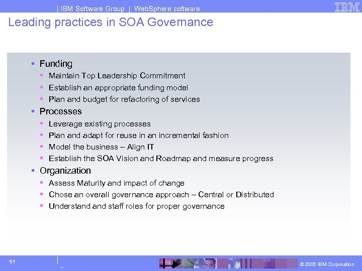 IBM Software Group | Web. Sphere software Leading practices in SOA Governance § Funding