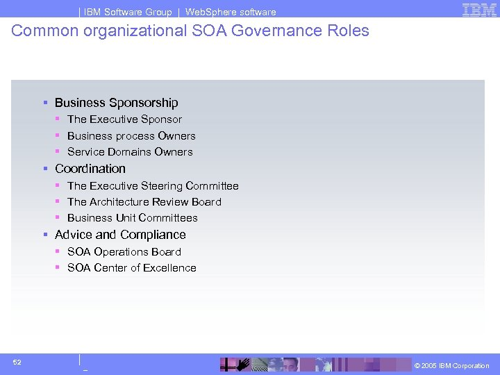 IBM Software Group | Web. Sphere software Common organizational SOA Governance Roles § Business