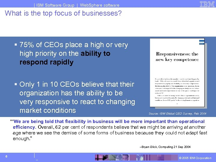 IBM Software Group | Web. Sphere software What is the top focus of businesses?