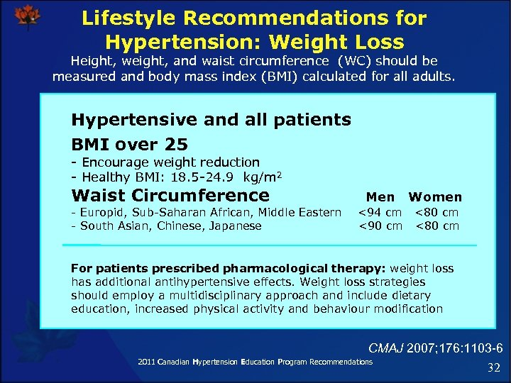Lifestyle Recommendations for Hypertension: Weight Loss Height, weight, and waist circumference (WC) should be