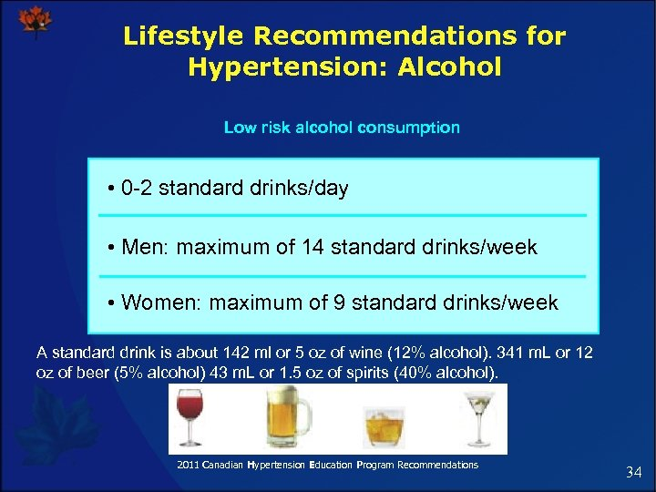 Lifestyle Recommendations for Hypertension: Alcohol Low risk alcohol consumption • 0 -2 standard drinks/day