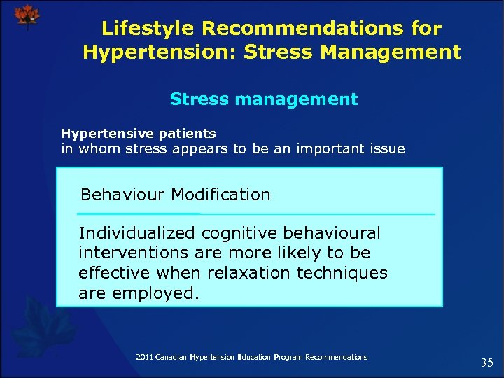Lifestyle Recommendations for Hypertension: Stress Management Stress management Hypertensive patients in whom stress appears