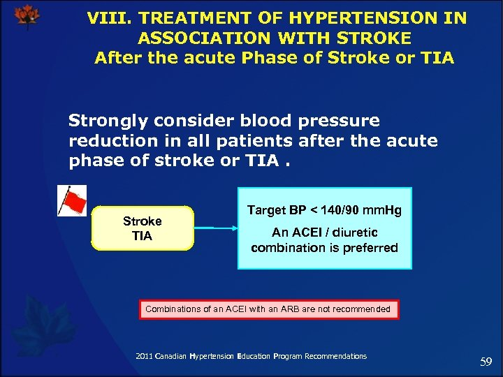 VIII. TREATMENT OF HYPERTENSION IN ASSOCIATION WITH STROKE After the acute Phase of Stroke