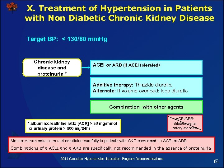 X. Treatment of Hypertension in Patients with Non Diabetic Chronic Kidney Disease Target BP: