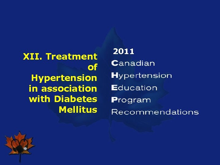 XII. Treatment of Hypertension in association with Diabetes Mellitus 2011