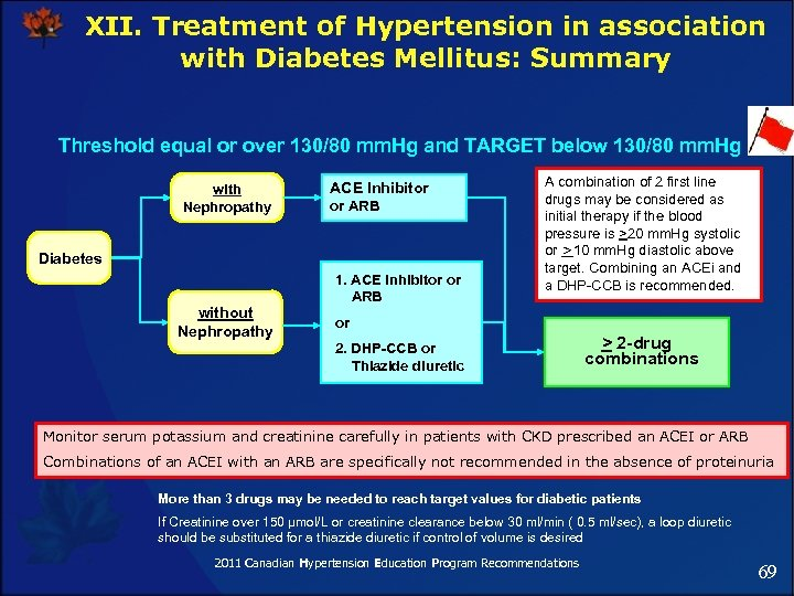 XII. Treatment of Hypertension in association with Diabetes Mellitus: Summary Threshold equal or over