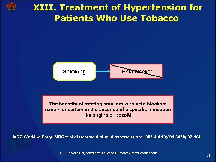 XIII. Treatment of Hypertension for Patients Who Use Tobacco Smoking Beta-blocker The benefits of