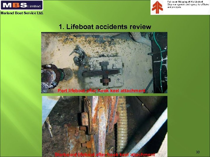 Marland Boat Service Ltd. 1. Lifeboat accidents review Port lifeboat after hook keel attachment