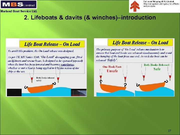 Marland Boat Service Ltd. 2. Lifeboats & davits (& winches)–introduction 17