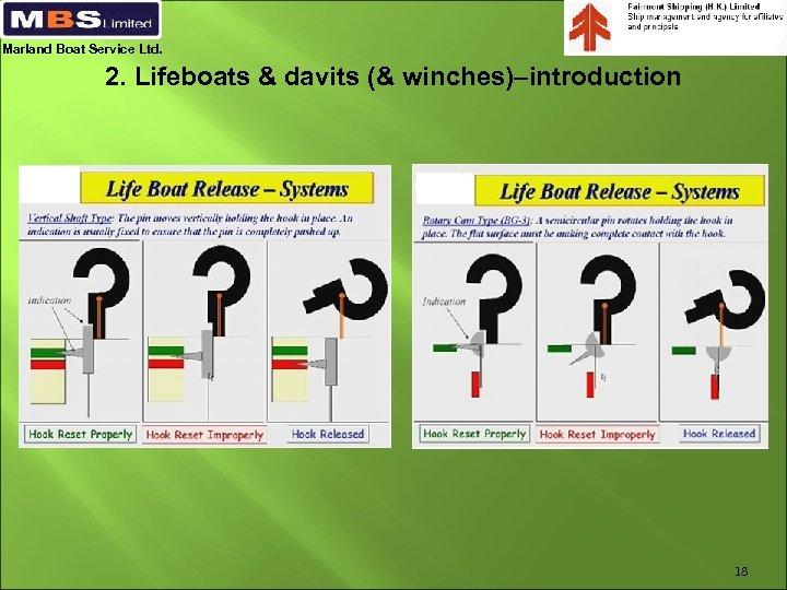 Marland Boat Service Ltd. 2. Lifeboats & davits (& winches)–introduction 18
