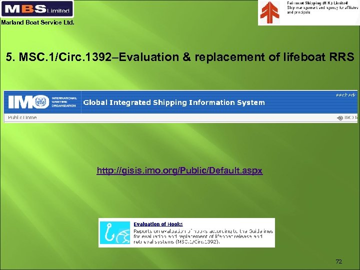 Marland Boat Service Ltd. 5. MSC. 1/Circ. 1392–Evaluation & replacement of lifeboat RRS http:
