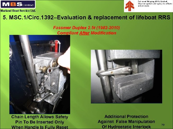 Marland Boat Service Ltd. 5. MSC. 1/Circ. 1392–Evaluation & replacement of lifeboat RRS Fassmer