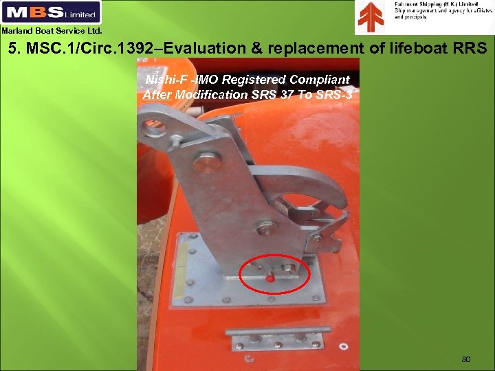 Marland Boat Service Ltd. 5. MSC. 1/Circ. 1392–Evaluation & replacement of lifeboat RRS Nishi-F