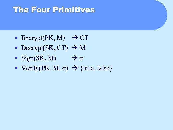 The Four Primitives § § Encrypt(PK, M) CT Decrypt(SK, CT) M Sign(SK, M) σ
