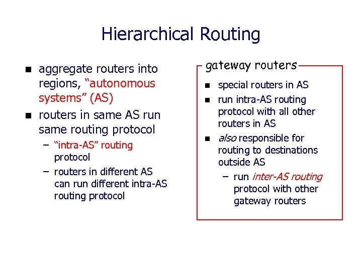 "Hierarchical Routing n n aggregate routers into regions, ""autonomous systems"" (AS) routers in same"