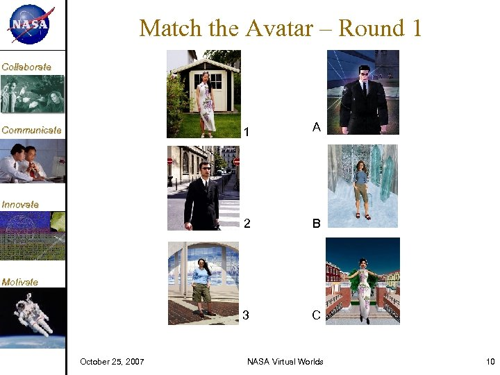 KM Match the Avatar – Round 1 Collaborate 1 A 2 B 3 Communicate