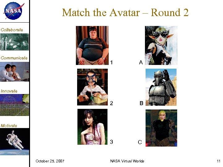 KM Match the Avatar – Round 2 Collaborate Communicate 1 A 2 B Innovate