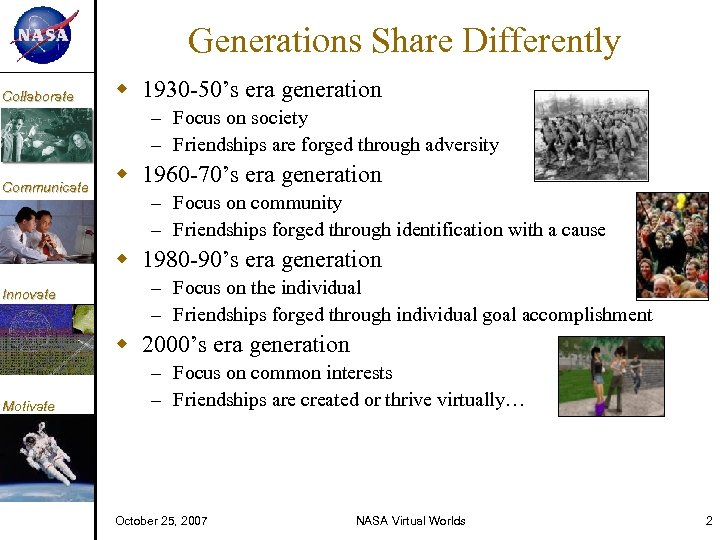 KM Collaborate Generations Share Differently 1930 -50's era generation – Focus on society –