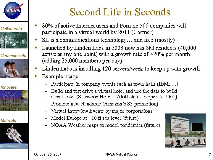 KM Collaborate Communicate Innovate Motivate Second Life in Seconds 80% of active Internet users