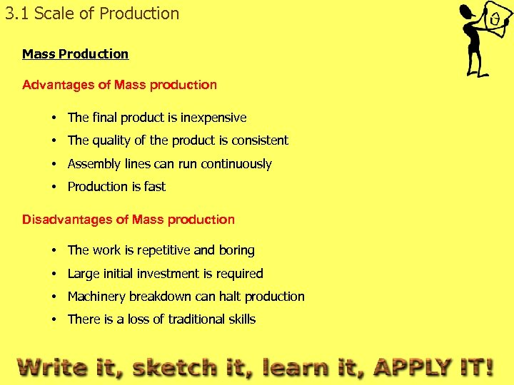 3. 1 Scale of Production Mass Production Advantages of Mass production • The final