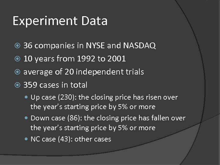 Experiment Data 36 companies in NYSE and NASDAQ 10 years from 1992 to 2001