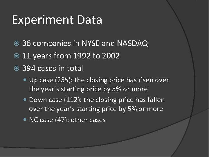 Experiment Data 36 companies in NYSE and NASDAQ 11 years from 1992 to 2002