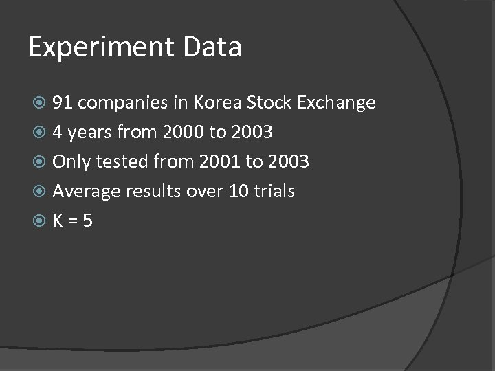 Experiment Data 91 companies in Korea Stock Exchange 4 years from 2000 to 2003