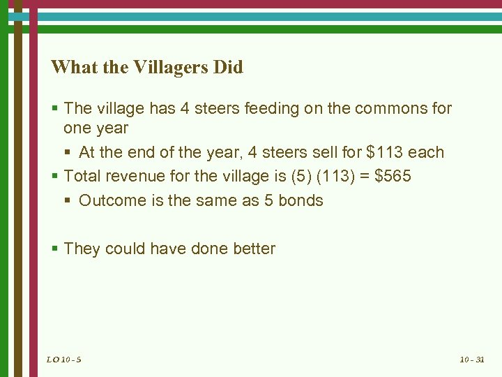 What the Villagers Did § The village has 4 steers feeding on the commons