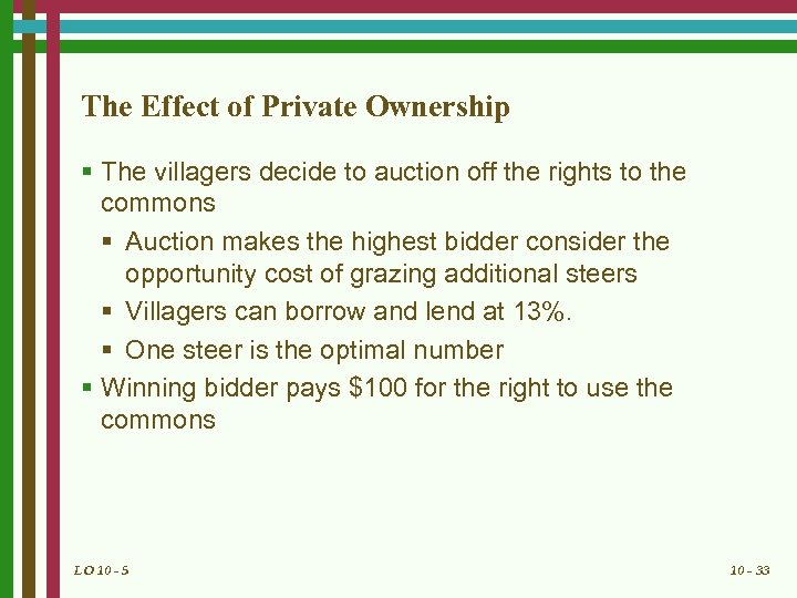The Effect of Private Ownership § The villagers decide to auction off the rights