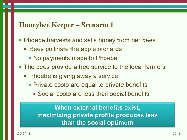 Honeybee Keeper – Scenario 1 § Phoebe harvests and sells honey from her bees