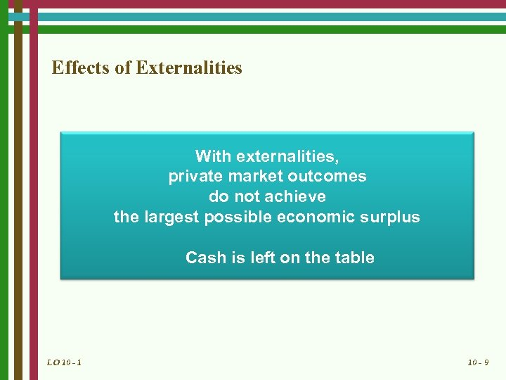 Effects of Externalities With externalities, private market outcomes do not achieve the largest possible