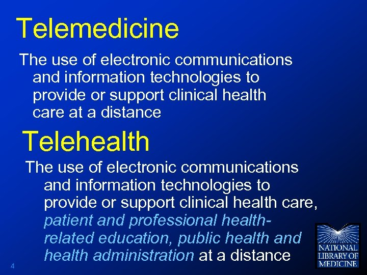 Telemedicine The use of electronic communications and information technologies to provide or support clinical