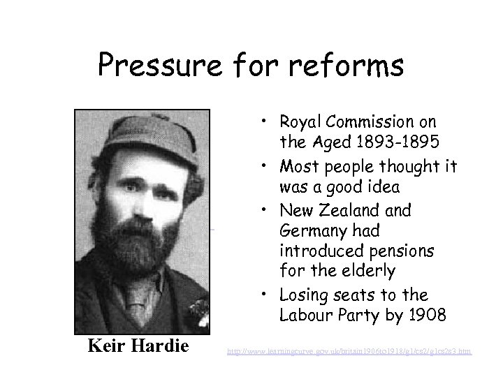 Pressure for reforms Keir Hardie • Royal Commission on the Aged 1893 -1895 •