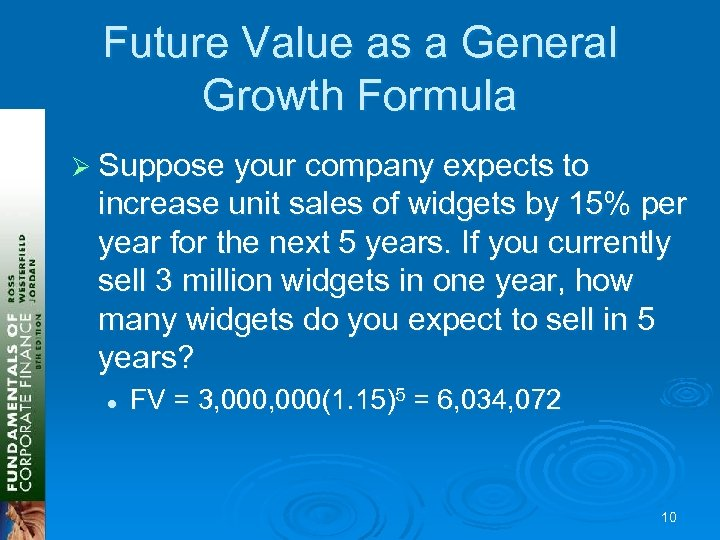 Future Value as a General Growth Formula Ø Suppose your company expects to increase