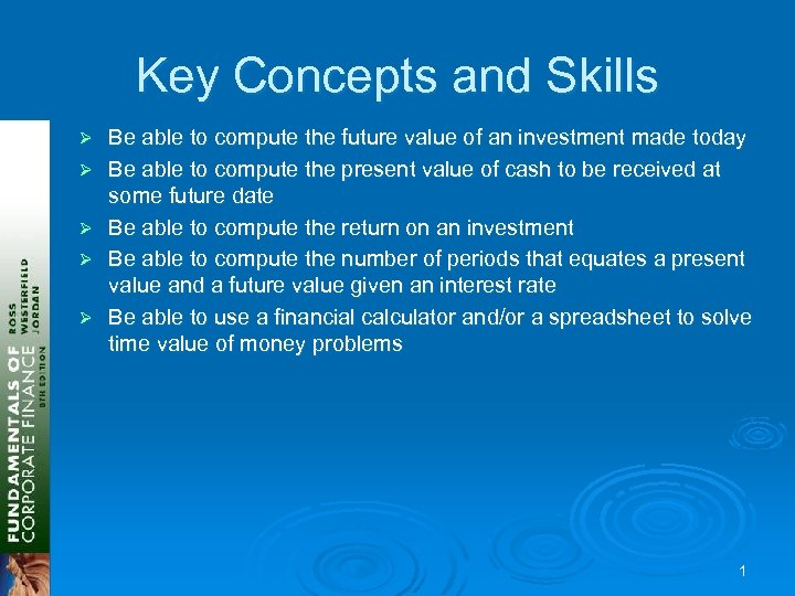 Key Concepts and Skills Ø Ø Ø Be able to compute the future value