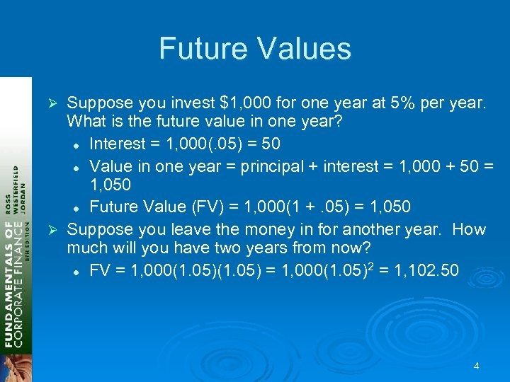 Future Values Suppose you invest $1, 000 for one year at 5% per year.