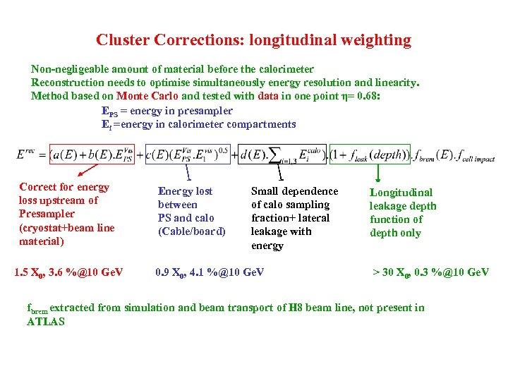 Cluster Corrections: longitudinal weighting Non-negligeable amount of material before the calorimeter Reconstruction needs to