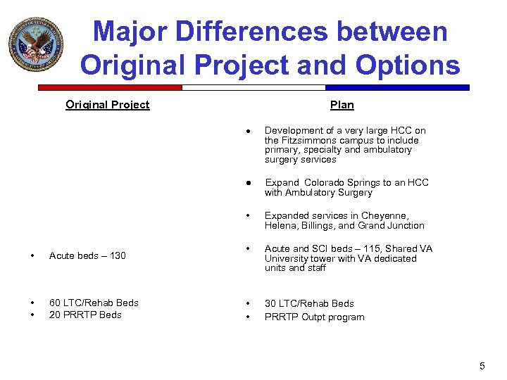 Major Differences between Original Project and Options Original Project Plan · ● Acute beds