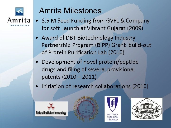 Amrita Milestones • $. 5 M Seed Funding from GVFL & Company for soft