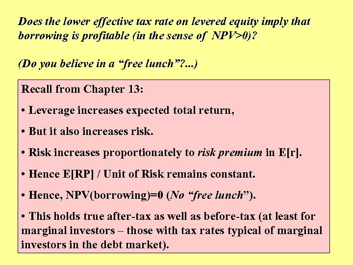 Does the lower effective tax rate on levered equity imply that borrowing is profitable