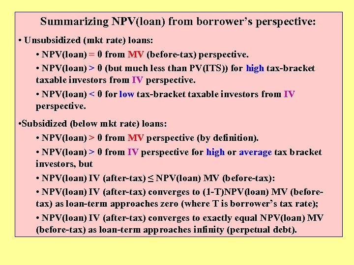 Summarizing NPV(loan) from borrower's perspective: • Unsubsidized (mkt rate) loans: • NPV(loan) = 0