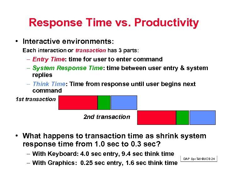 Response Time vs. Productivity • Interactive environments: Each interaction or transaction has 3 parts: