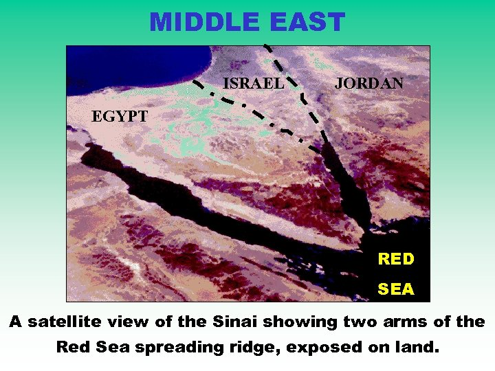 MIDDLE EAST ISRAEL JORDAN EGYPT RED SEA A satellite view of the Sinai showing
