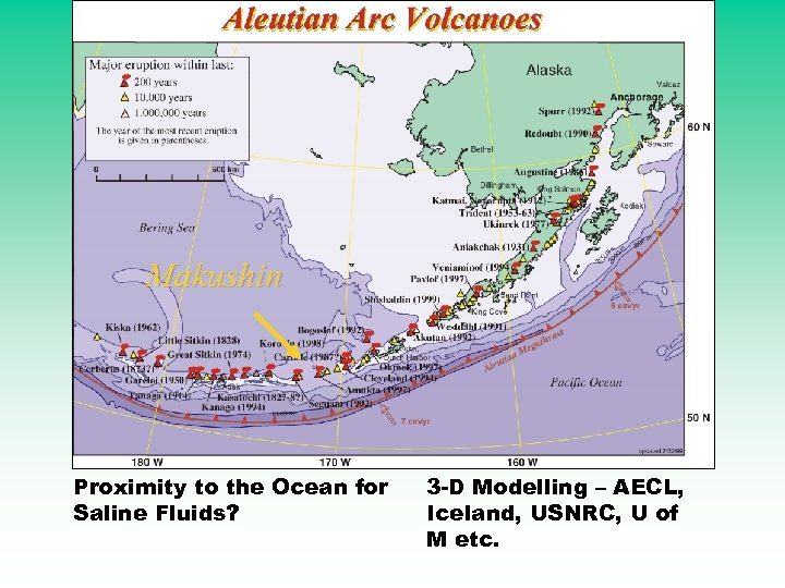 Makushin Proximity to the Ocean for Saline Fluids? 3 -D Modelling – AECL, Iceland,