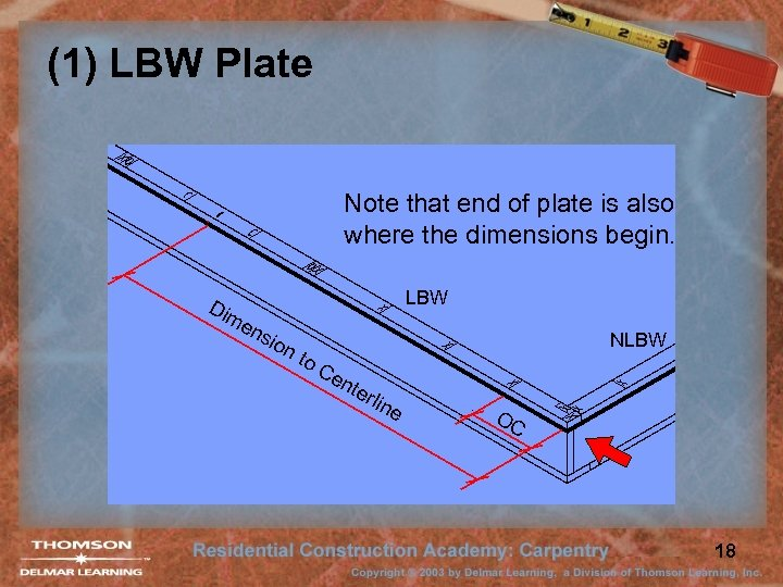 (1) LBW Plate Note that end of plate is also where the dimensions begin.