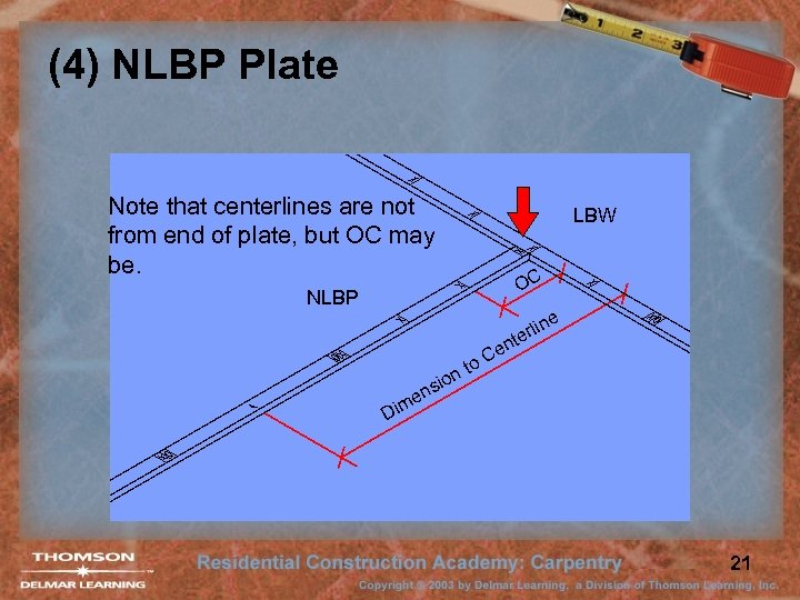 (4) NLBP Plate Note that centerlines are not from end of plate, but OC