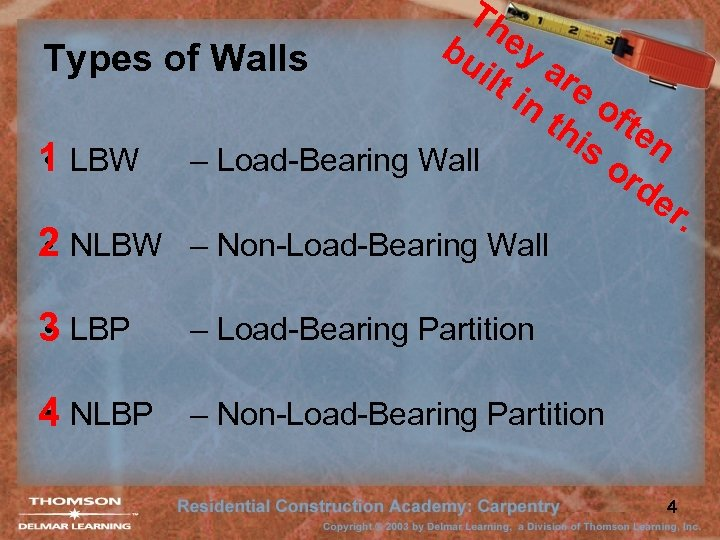 Th bu ey Types of Walls ilt are in of th te is n