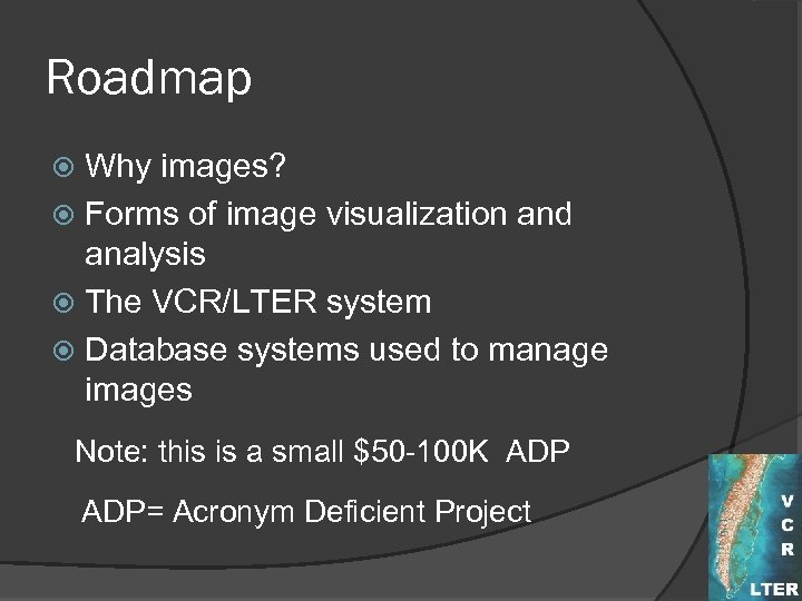 Roadmap Why images? Forms of image visualization and analysis The VCR/LTER system Database systems