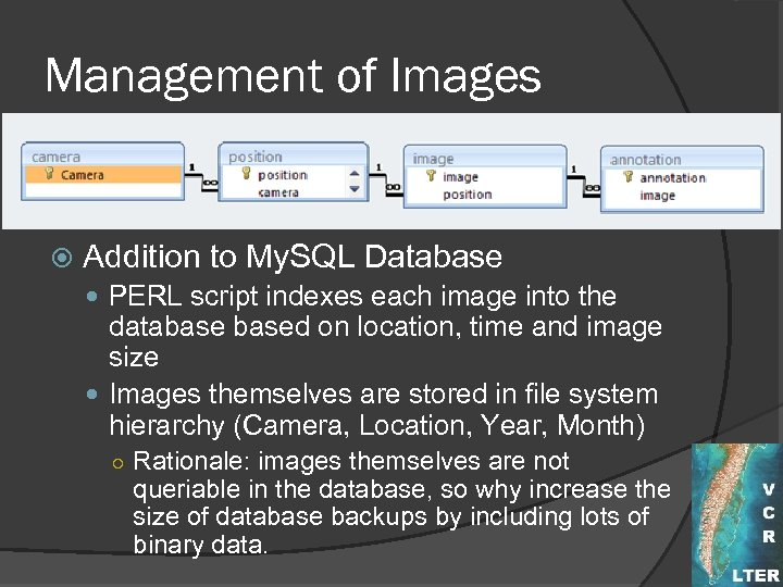 Management of Images Addition to My. SQL Database PERL script indexes each image into