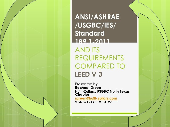 ANSI/ASHRAE /USGBC/IES/ Standard 189. 1 -2011 AND ITS REQUIREMENTS COMPARED TO LEED V 3